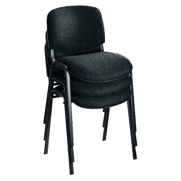 First Multipurpose Stacking Chair Black Frame Charcoal Upholstery KF839226 Pack of 4