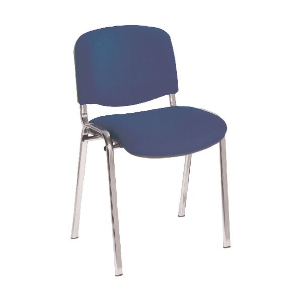 First Multipurpose Stacking Chair Chrome Frame Blue Upholstery KF839227
