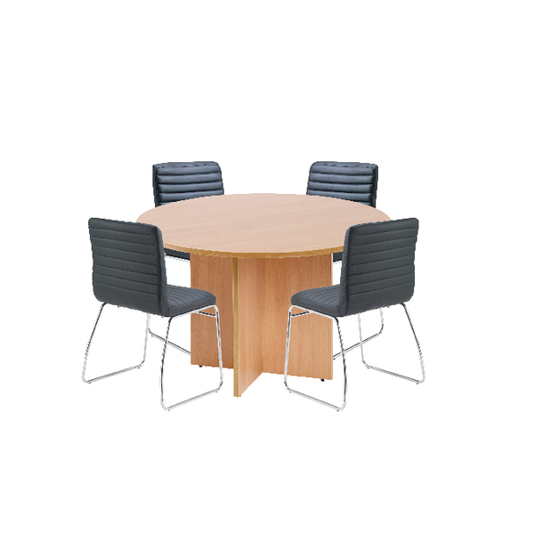 Unspecified First Beech 1200mm Diameter Round Meeting Table with Dart Meeting Chairs KF839233