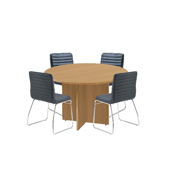 Unspecified First Oak 1200mm Diameter Round Meeting Table with Dart Meeting Chairs KF839234