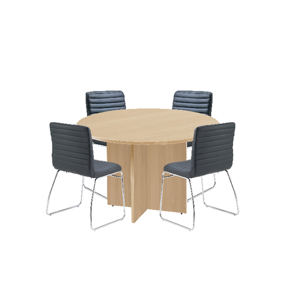 Unspecified First Maple 1200mm Diameter Round Meeting Table with Dart Meeting Chairs KF839235