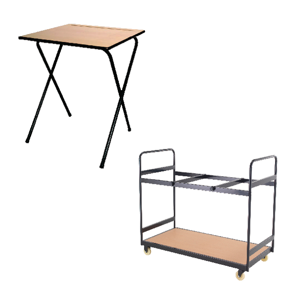 Desks/Tables Jemini MDF Exam Desk (40 Pack) and Trolley Bundle KF839286