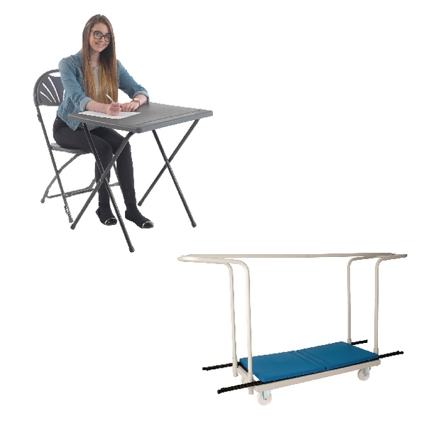 Desks/Tables Jemini PP Exam Desk Blue (40 Pack) and Trolley Promotion KF839287