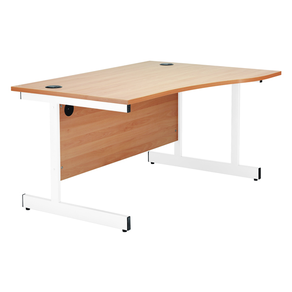 Wave Jemini Beech/White 1600mm Left Hand Wave Cantilever Desk KF839317
