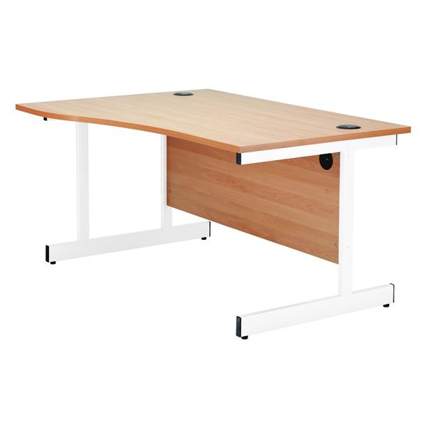 Jemini Oak/White 1600mm Right Hand Wave Cantilever Desk KF839322