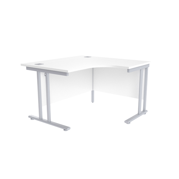 Radial Jemini White/Silver 1200mm Right Hand Radial Cantilever Desk KF839608
