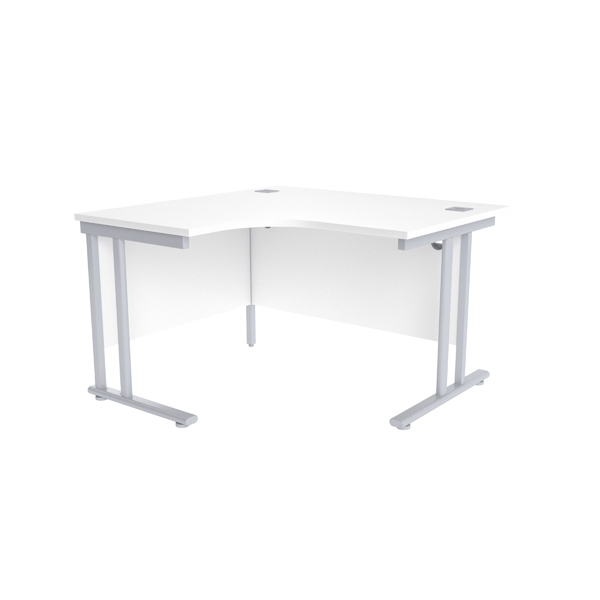 Radial Jemini White/Silver 1200mm Left Hand Radial Cantilever Desk KF839614