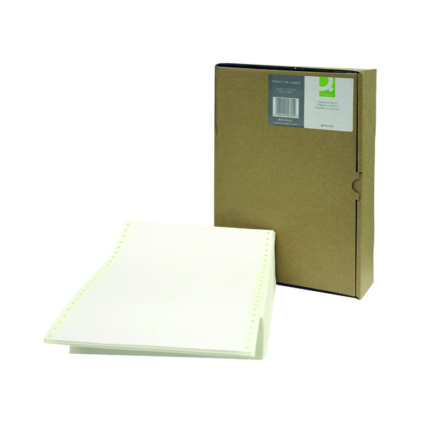 Q-Connect Computer Label 89x36mm 2 Across The Web 16 Per Fanfold White (8000 Pack) KF89362