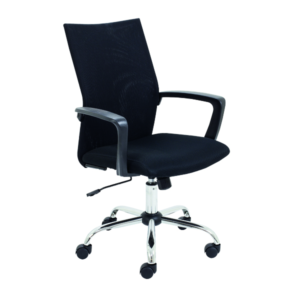 With Arms Jemini One Task Mesh Chair with Fixed Arms Black CH3311BK