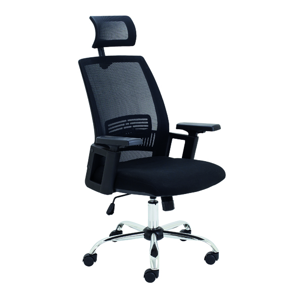 With Arms Jemini One Task Mesh Chair with Headrest and Adjustable Arms Black CH3310BK