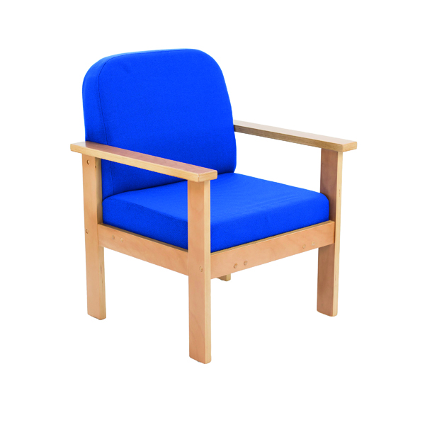 Reception Chairs FF First Wooden Reception Armchair Blue OF0310RB