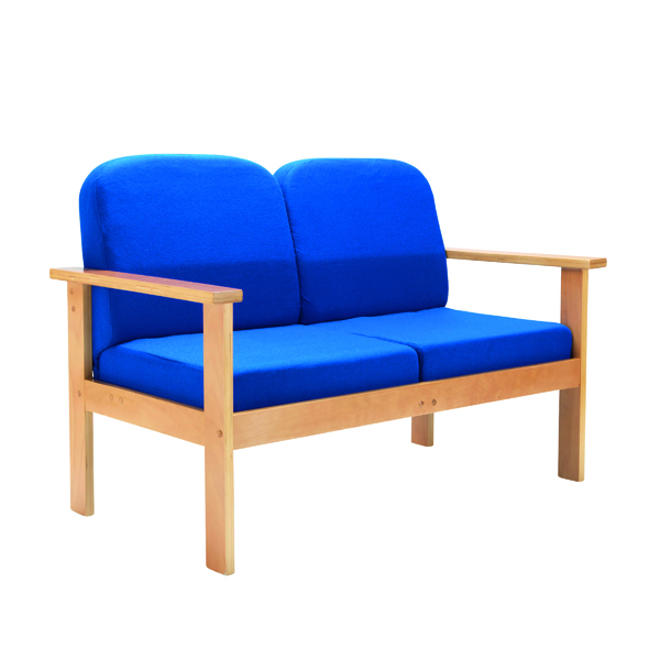 Reception Chairs FF First Wooden Reception 2P Sofa Blue OF0313RB