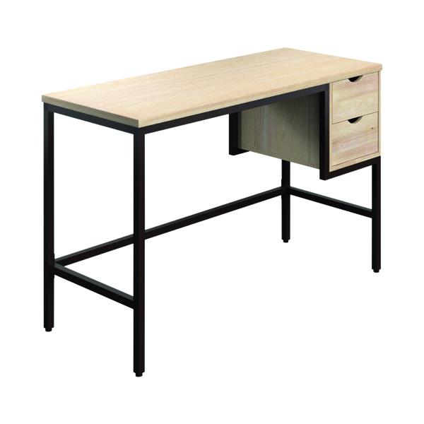Other SOHO Computer Desk 1300mm 2 Drawers Oak/Brown Legs SOHODESK1
