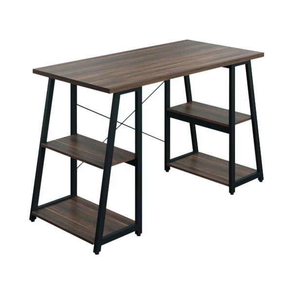 Other SOHO Computer Desk Walnut W1300mm A-Frame Black Leg Shelves SOHODESK6