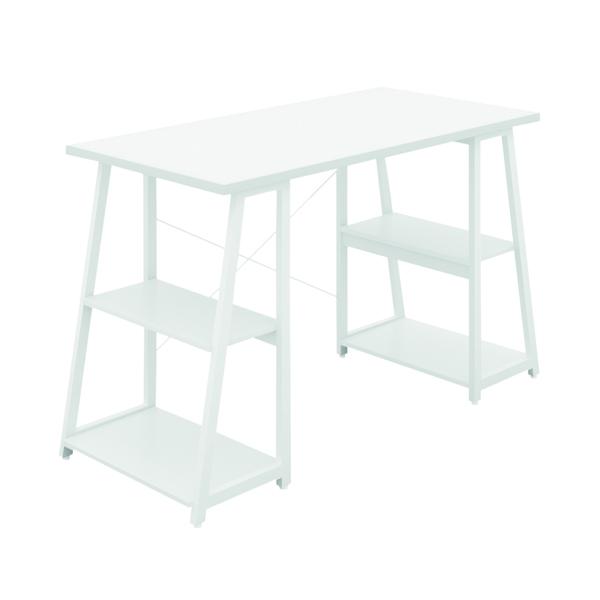 Other SOHO Computer Desk White W1200mm A-Frame White Leg Shelves SOHODESK5WH
