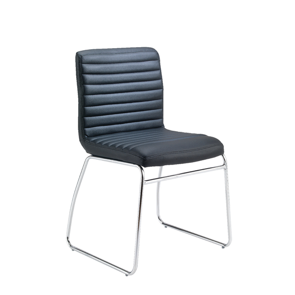 Unspecified First Meeting Chair Black PU Chrome Base KF98508