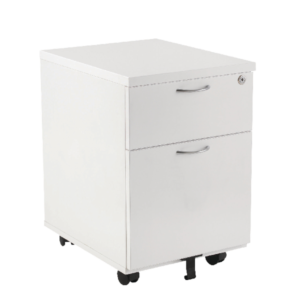 Two Drawer First Mobile Under Desk Pedestal 2 Drawer White KF98509