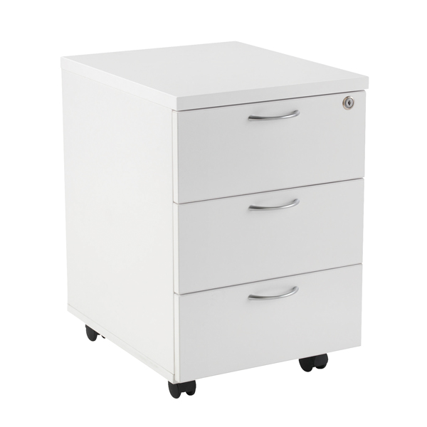 Three Drawer First Mobile Under Desk Pedestal 3 Drawer White KF98510
