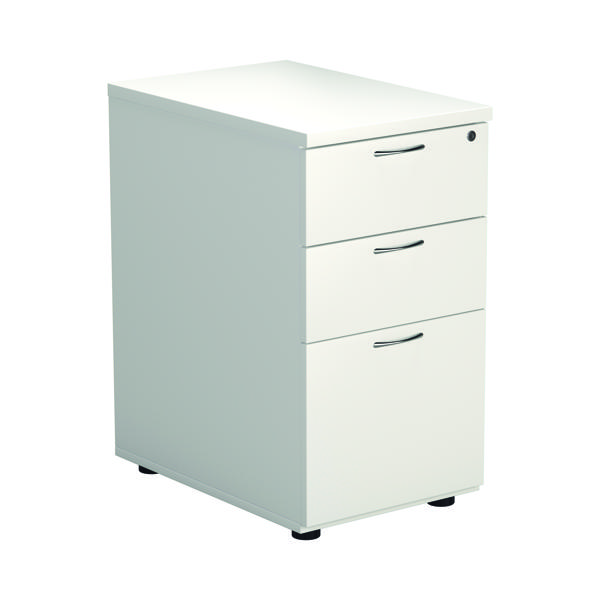 Three Drawer First Desk High Pedestal 3 Drawer 600mm Deep White KF98511