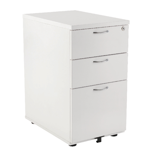Three Drawer First Desk High Pedestal 3 Drawer 800mm Deep White KF98512