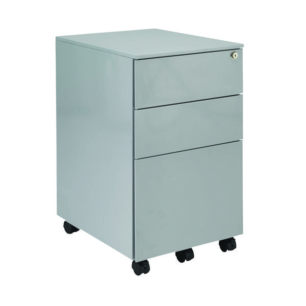 Three Drawer First Steel Under Desk Pedestal 3 Drawer Silver KF98513