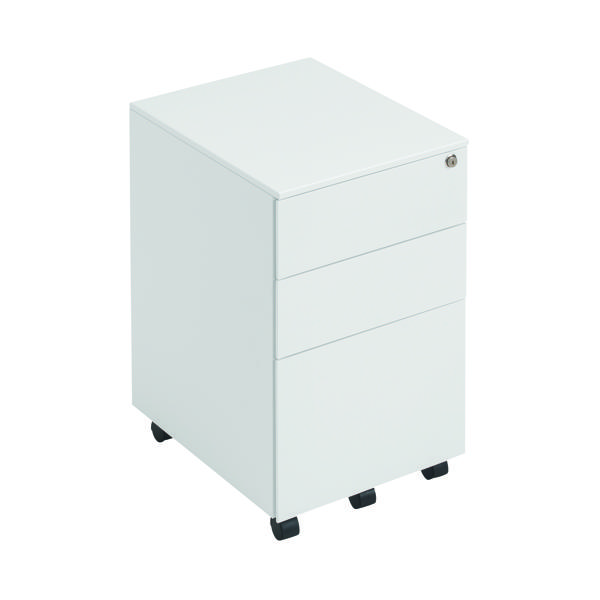 Three Drawer First Steel Under Desk Pedestal 3 Drawer White KF98514