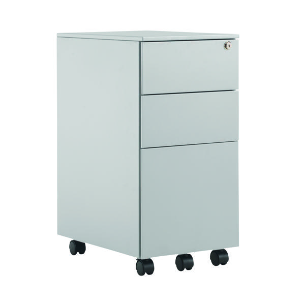 Three Drawer First Steel Slimline Under Desk Pedestal 3 Drawer Silver KF98515