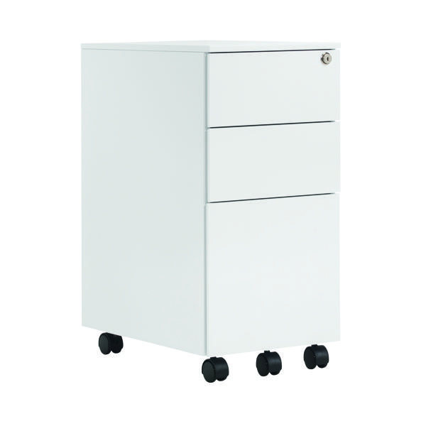 Three Drawer First Steel Slimline Under Desk Pedestal 3 Drawer White KF98516