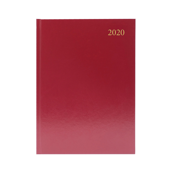 Day a Page Desk Diary A4 Day Per Page Appointments 2020 Burgundy KFA41ABG20