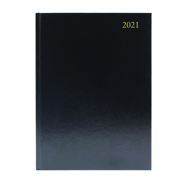 Day a Page Desk Diary Day Per Page Appointments A4 Black 2021 KFA41ABK21