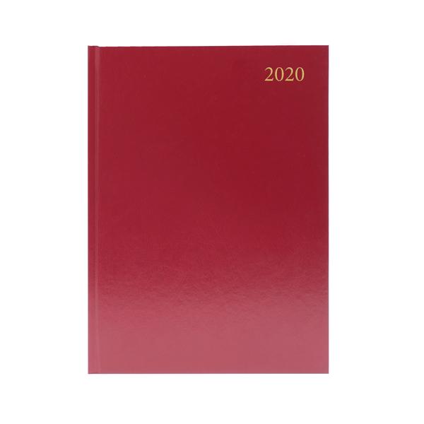 Desk Diary A4 Day Per Page 2020 Burgundy KFA41BG20