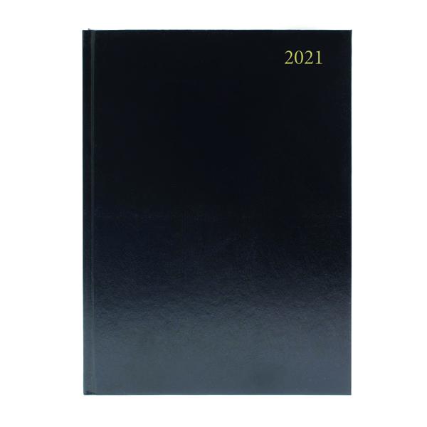 Day a Page Desk Diary Day Per Page A4 Black 2021 KFA41BK21