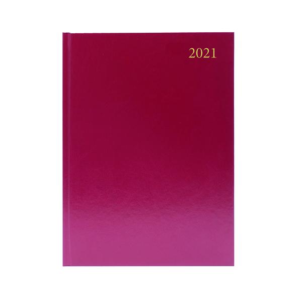 2 Days a Page Desk Diary 2 Days Per Page A4 Burgundy 2021 KFA42BG21