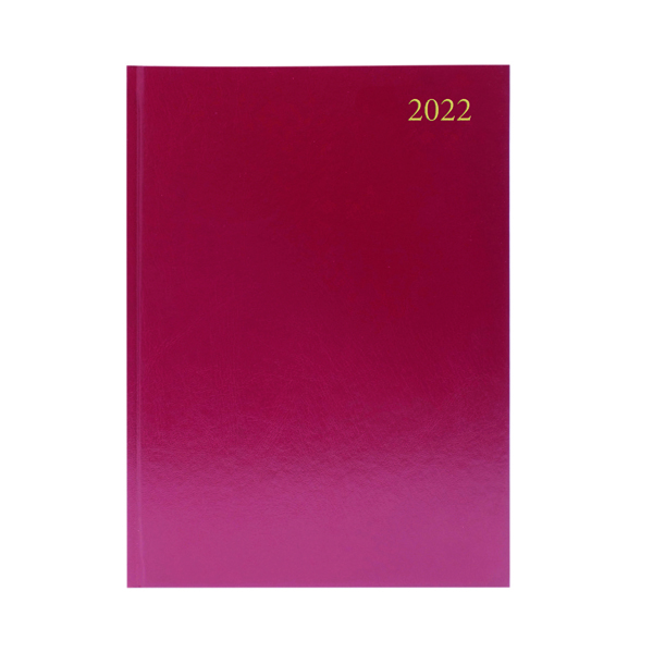 2 Days a Page Desk Diary Week To View A4 Burgundy 2022 KFA43BG22