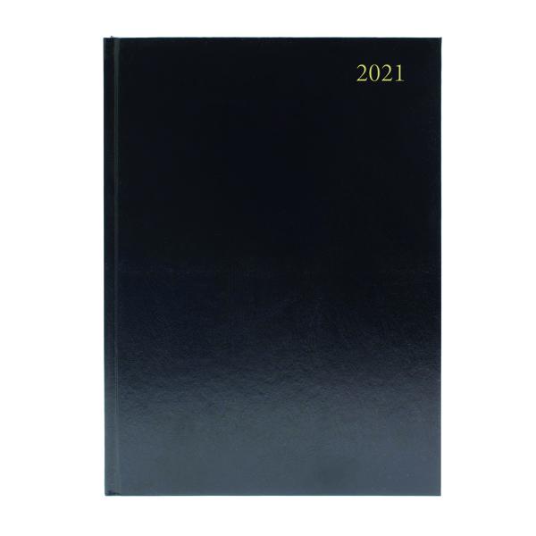 2 Days a Page Desk Diary 2 Days Per Page A4 Black 2021 KFA42BK21