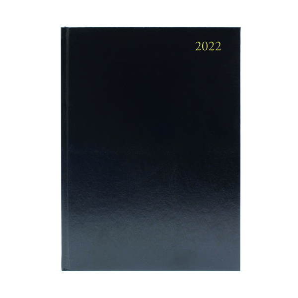 2 Days a Page Desk Diary Week To View A4 Black 2022 KFA43BK22