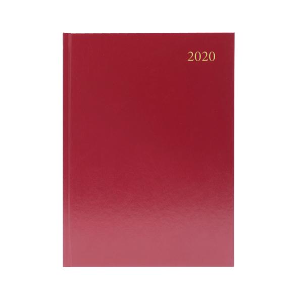 2 Days a Page Desk Diary A5 2 Days Per Page 2020 Burgundy KFA52BG20