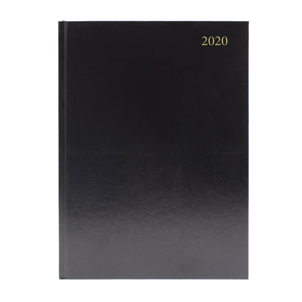 2 Days a Page Desk Diary A5 2 Days Per Page 2020 Black KFA52BK20