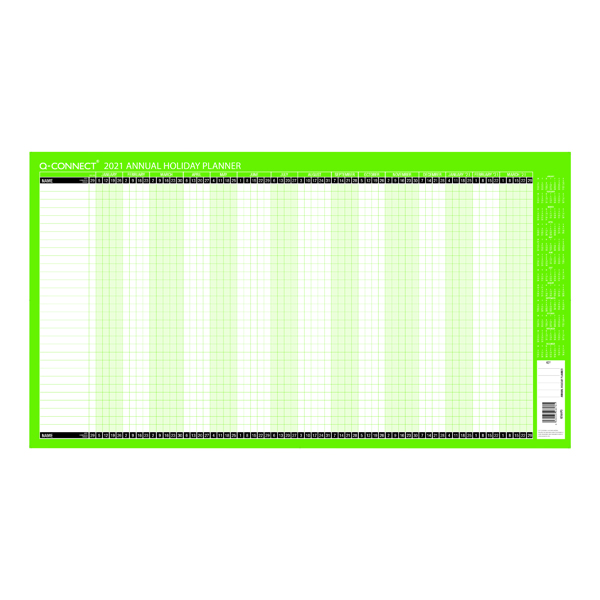 Unmounted Q-Connect Holiday Planner Unmounted 754 x 410mm 2021 KFAHP21