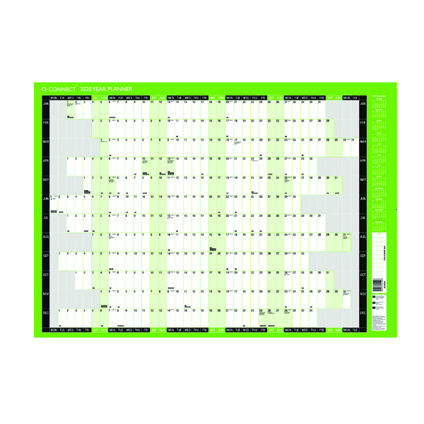 Q-Connect Compact Year Planner Unmounted 590 x 420mm 2020 KFCYP20