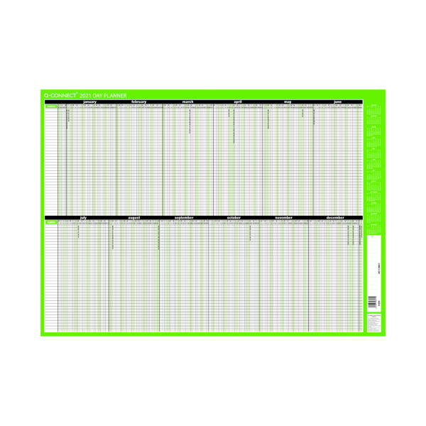 Calendars Q-Connect Day Planner Mounted 855 x 610mm 2021 KFDPM21