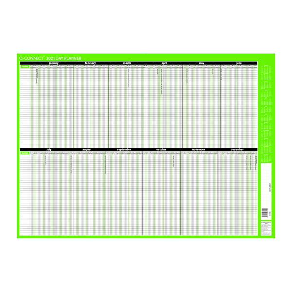 Calendars Q-Connect Day Planner Unmounted 855 x 610mm 2021 KFDPU21