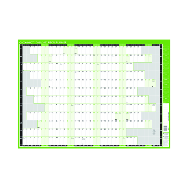 Planners Q-Connect Fiscal Planner Mounted 855 x 610mm 2021-22 KFFPM21