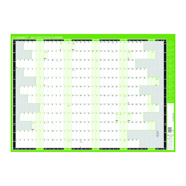 Planners Q-Connect Fiscal Planner Unmounted 855 x 610mm 2021-22 KFFPU21