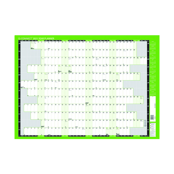Planners Q-Connect Oversized Year Planner 1000 x 610mm 2021 KFLYPU21
