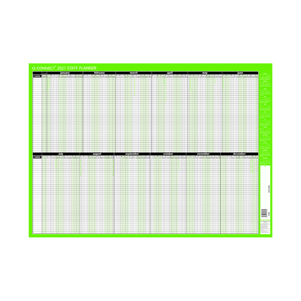 Planners Q-Connect Staff Planner Mounted 855 x 610mm 2021 KFSPM21
