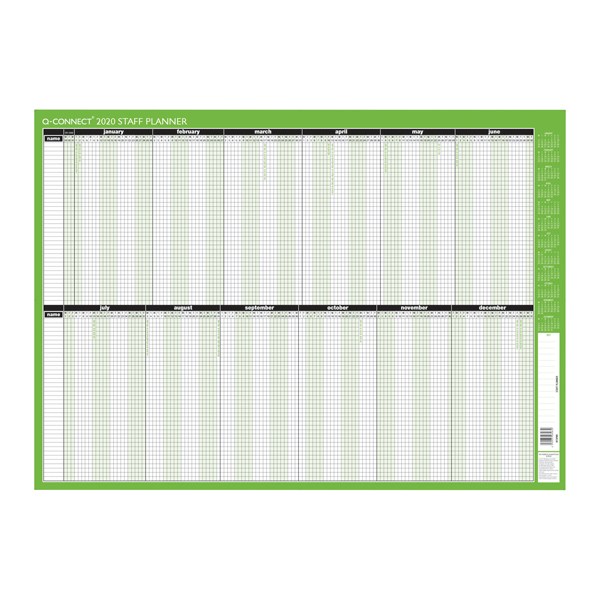 Q-Connect Staff Planner Unmounted 855 x 610mm 2020 KFSPU20