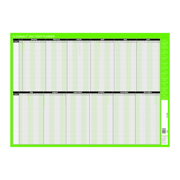 Planners Q-Connect Staff Planner Unmounted 855 x 610mm 2021 KFSPU21
