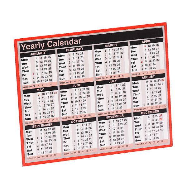 Yearly Year To View Calendar 257 x 210mm 2021 KFYC121