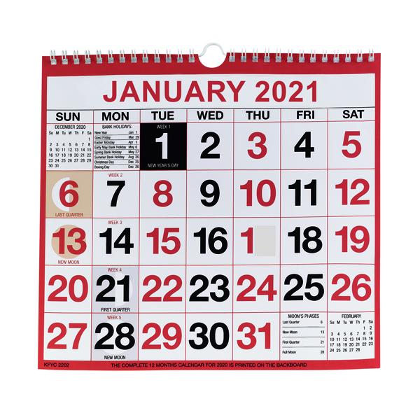 Calendars Wirebound Monthly Calendar 249 x 231mm 2021 KFYC2221